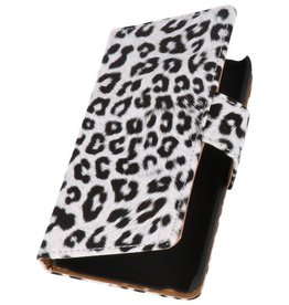 Luipaard Bookstyle Hoes voor Galaxy S Advance i9070 Wit