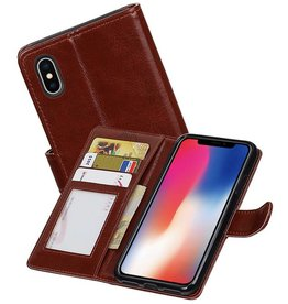 iPhone X Portemonnee hoesje booktype wallet case Bruin
