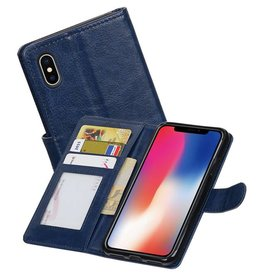 iPhone X Portemonnee hoesje booktype wallet case Donkerblauw