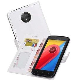 Moto C Portemonnee hoesje booktype wallet case Wit