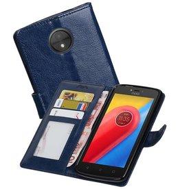 Moto C Portemonnee hoesje booktype wallet case Donkerblauw