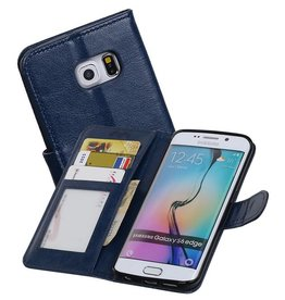 Galaxy S6 Edge Portemonnee hoes booktype wallet Donkerblauw