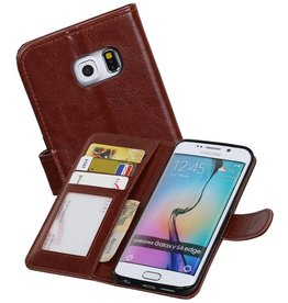 Galaxy S6 Edge Portemonnee hoesje booktype wallet case Bruin