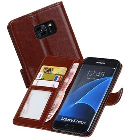 Galaxy S7 Edge Portemonnee hoesje booktype wallet case Bruin