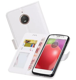 Moto E4 Plus Portemonnee hoesje booktype wallet case Wit