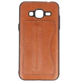 Standing TPU Wallet Case voor Galaxy J3 / J3 2016 Bruin