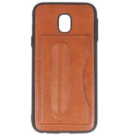 Standing TPU Wallet Case voor Galaxy J3 2017 Bruin