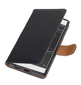 Washed Leer Bookstyle Hoes voor Nokia 7 Zwart