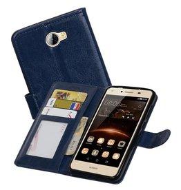 Huawei Y5 II Portemonnee hoesje booktype wallet Donkerblauw