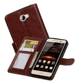Huawei Y5 II Portemonnee hoesje booktype wallet case Bruin