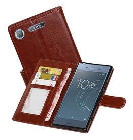 Xperia XZ1 Portemonnee hoesje booktype Wallet case Bruin