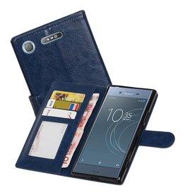 Xperia XZ1 Portemonnee hoesje booktype Wallet case Donker Blauw