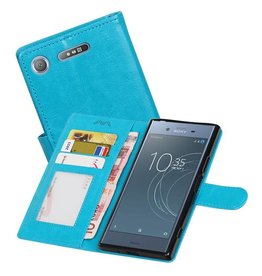 Xperia XZ1 Portemonnee hoesje booktype Wallet case Turquoise
