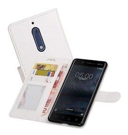 Nokia 5 Portemonnee hoesje booktype wallet case Wit
