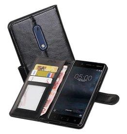 Nokia 5 Portemonnee hoesje booktype wallet case Zwart