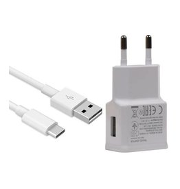 Type C Universal Travel Charger 2.4 A Wit + USB Kabel