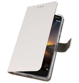 Nokia 6 2018 Hoesje Kaarthouder Book Case Telefoonhoesje Wit