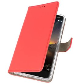 Bookstyle Wallet Cases Hoesje Nokia 6 2018 Rood