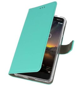 Nokia 6 2018 Hoesje Kaarthouder Book Case Telefoonhoesje Groen