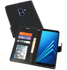 Wallet Cases Hoesje voor Galaxy A8 Plus (2018) Zwart