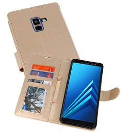 Wallet Cases Hoesje voor Galaxy A8 Plus (2018) Goud