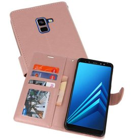 Wallet Cases Hoesje voor Galaxy A8 Plus (2018) Roze