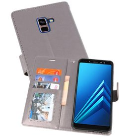 Wallet Cases Hoesje voor Galaxy A8 Plus (2018) Grijs