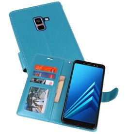 Wallet Cases Hoesje voor Galaxy A8 Plus (2018) Turquoise