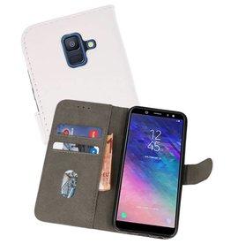 Samsung Galaxy A6 2018 Hoesje Kaarthouder Book Case Telefoonhoesje Wit