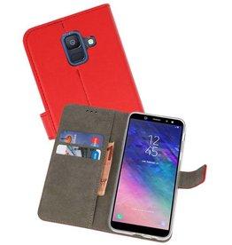 Samsung Galaxy A6 2018 Hoesje Kaarthouder Book Case Telefoonhoesje Rood