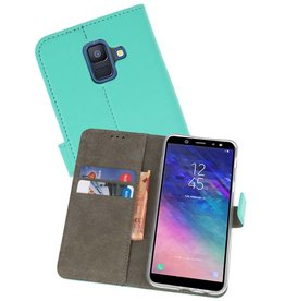 Bookstyle Wallet Cases Hoesje voor Galaxy A6 2018 Groen