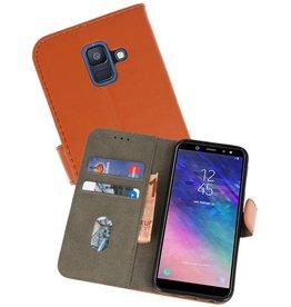 Samsung Galaxy A6 2018 Hoesje Kaarthouder Book Case Telefoonhoesje Bruin
