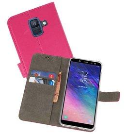 Samsung Galaxy A6 2018 Hoesje Kaarthouder Book Case Telefoonhoesje Roze