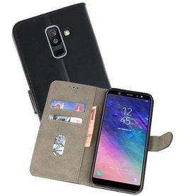 Samsung Galaxy A6 Plus 2018 Hoesje Kaarthouder Book Case Telefoonhoesje Zwart