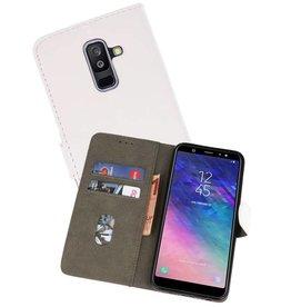 Samsung Galaxy A6 Plus 2018 Hoesje Kaarthouder Book Case Telefoonhoesje Wit