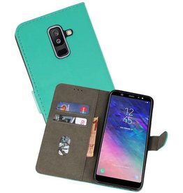 Samsung Galaxy A6 Plus 2018 Hoesje Kaarthouder Book Case Telefoonhoesje Groen