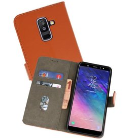 Bookstyle Wallet Cases Hoesje voor Galaxy A6 Plus 2018 Bruin