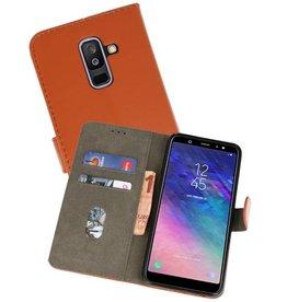 Samsung Galaxy A6 Plus 2018 Hoesje Kaarthouder Book Case Telefoonhoesje Bruin