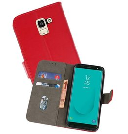 Bookstyle Wallet Cases Hoesje Samsung Galaxy J6 2018 Rood