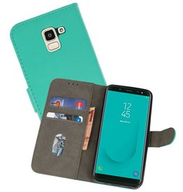 Bookstyle Wallet Cases Hoesje voor Galaxy J6 2018 Groen