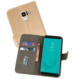 Bookstyle Wallet Cases Hoesje voor Galaxy J6 2018 Goud