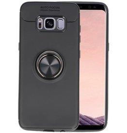 Softcase voor Galaxy S8 Hoesje met Ring Houder Zwart