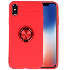 Softcase voor iPhone X Hoesje met Ring Houder Rood