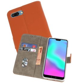 Bookstyle Wallet Cases Hoes voor Honor 10 Bruin