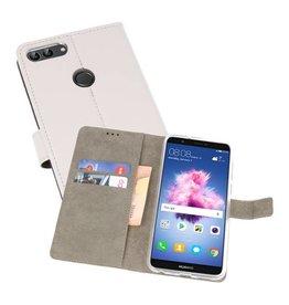 Huawei P Smart Hoesje Kaarthouder Book Case Telefoonhoesje Wit