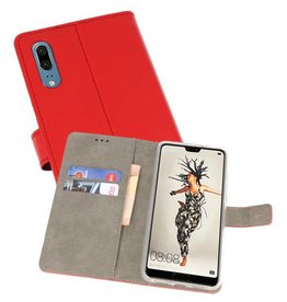 Huawei P20 Hoesje Kaarthouder Book Case Telefoonhoesje Rood