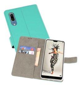 Huawei P20 Hoesje Kaarthouder Book Case Telefoonhoesje Groen