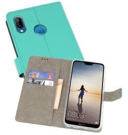 Huawei P20 Lite Hoesje Kaarthouder Book Case Telefoonhoesje Groen