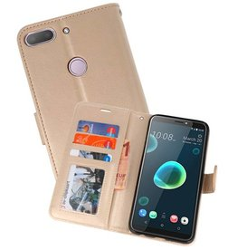 Wallet Cases Hoesje voor HTC Desire 12 Plus Goud