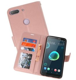 Wallet Cases Hoesje voor HTC Desire 12 Plus Roze
